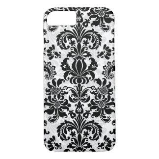 Black And White Vintage Floral Damask iPhone 8/7 Case