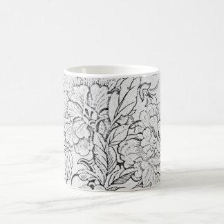 Black and White Vintage Floral Coffee Mug