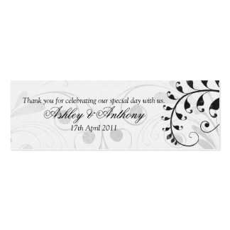 Black and White Vintage Floral Wedding Favour Tags Double-Sided Mini Business Cards (Pack Of 20)