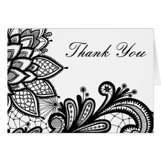 Black and White Vintage Lace | Thank You Card