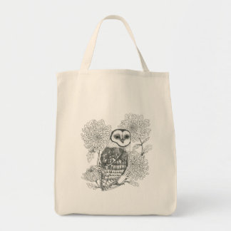 black and white vintage owl with flowers tote