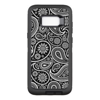 Black & and white vintage paisley pattern OtterBox defender samsung galaxy s8+ case