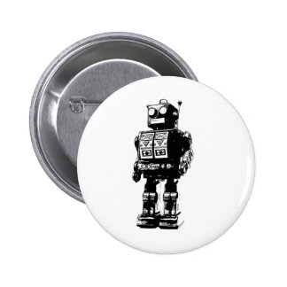 Black and White Vintage Robot 6 Cm Round Badge