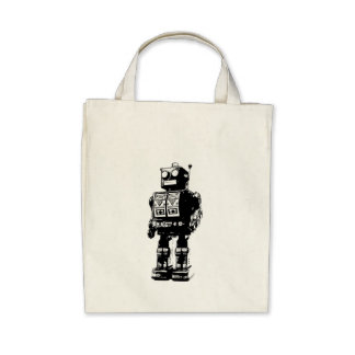 Black and White Vintage Robot Bags
