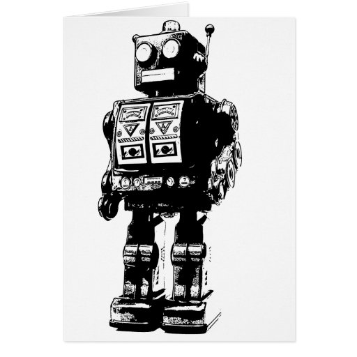 Black and White Vintage Robot Card