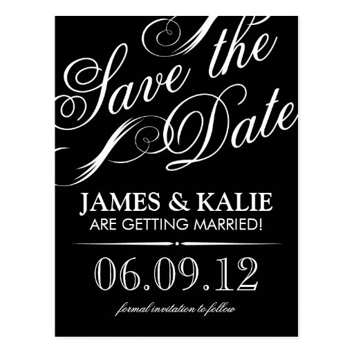 Black and White Vintage Script Save the Date Post Card