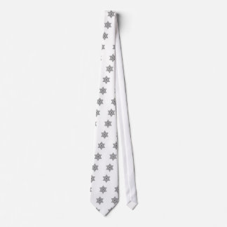 Black and White Vintage Star of David - Magen Davi Tie
