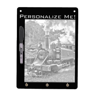 Black and White Vintage Steam Train Engine Dry-Erase Whiteboards