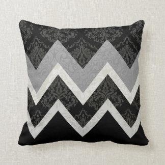 Black and White Vintage Style Chevron Design Cushion
