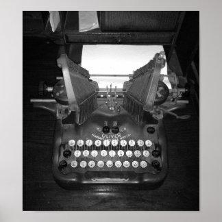 Black And White Vintage Typewriter Photograph Poster