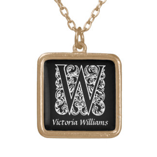 Black and White W Monogram Initial Personalized Square Pendant Necklace