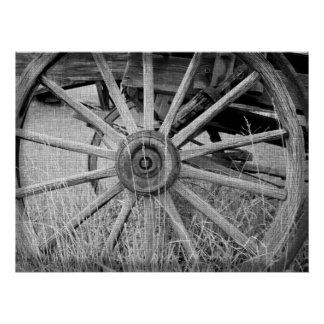 Black and White Wagon Wheel Print