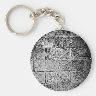 Black and White Wall. Digital Art. Basic Round Button Key Ring