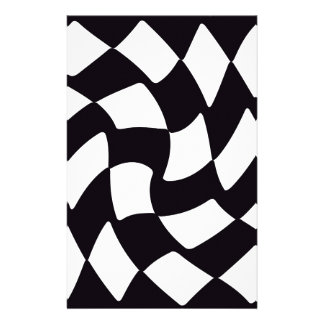 Black and White Warped Checkerboard Custom Stationery