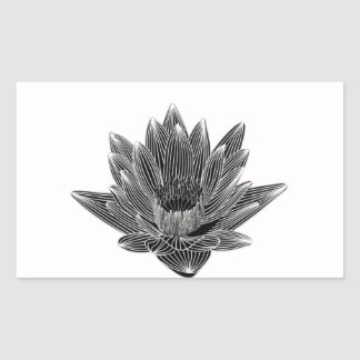 Black and White Water lily Rectangular Sticker