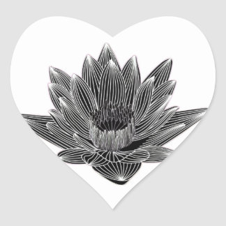 Black and White Water lily Heart Sticker