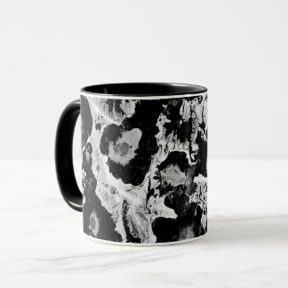 Black and white, water texture design, marbling mug