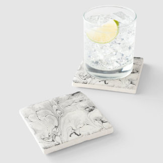 Black and white, water, texture design, marbling p stone coaster