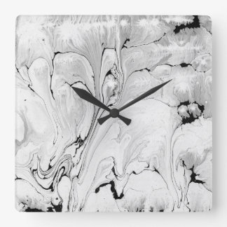 Black and white water texture design, marbling pap wall clock