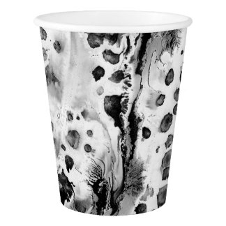 Black and white water texture design, marbling paper cup