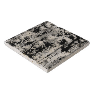 Black and white water texture design, marbling trivets
