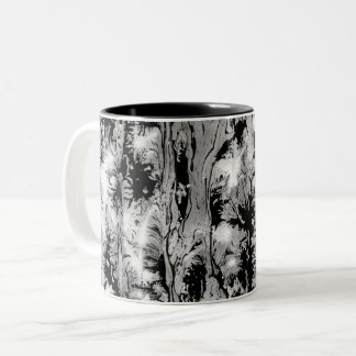 Black and white water texture design, marbling Two-Tone coffee mug