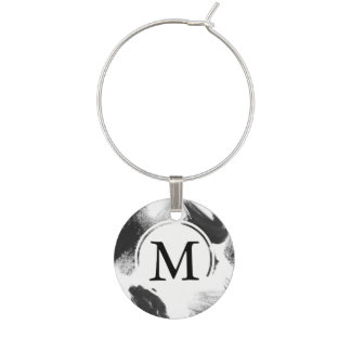 Black and White Watercolor Abstract Monogram Wine Charm
