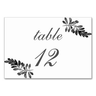 Black and White Watercolor Floral Wedding Card