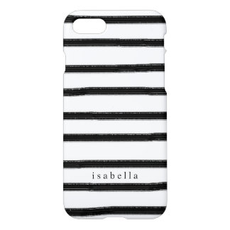Black And White Watercolor Stripes iPhone 7 Case