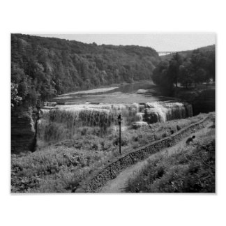 Black And White Waterfall Photograph Poster