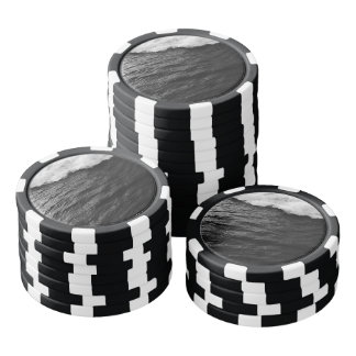 Black and White Waves Poker Chips