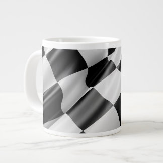 Black and White Waving Racing Flag Large Coffee Mug