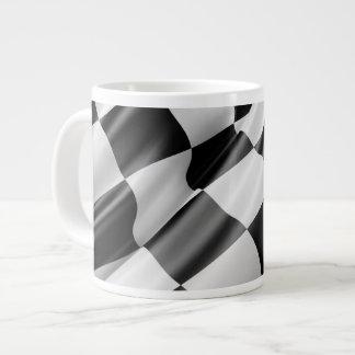 Black and White Waving Racing Flag Large Coffee Mug