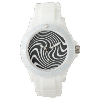 Black and White Wavy Abstract Sporty Watch