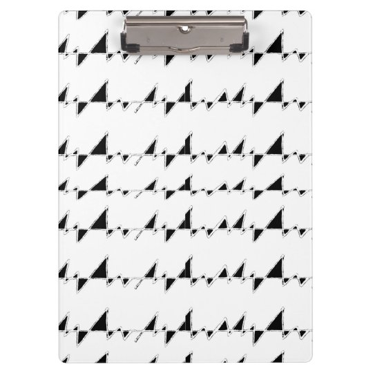 Black and White Wavy Stripes Pattern Clipboard