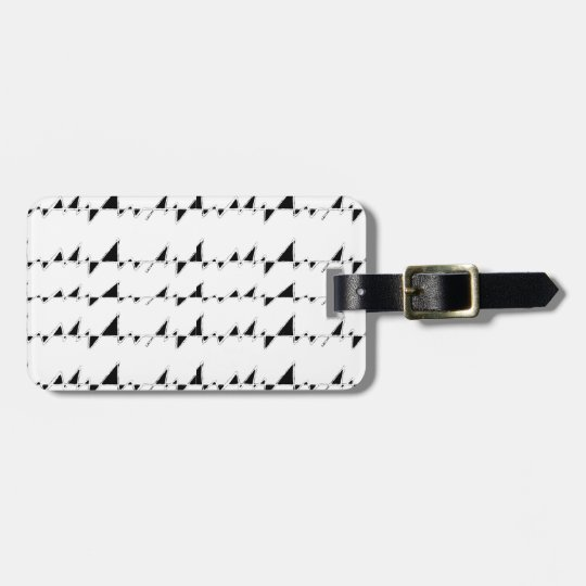 Black and White Wavy Stripes Pattern Luggage Tag