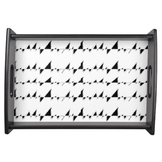 Black and White Wavy Stripes Pattern Serving Tray