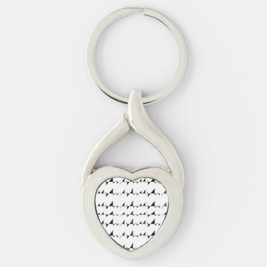 Black and White Wavy Stripes Pattern Silver-Colored Twisted Heart Key Ring