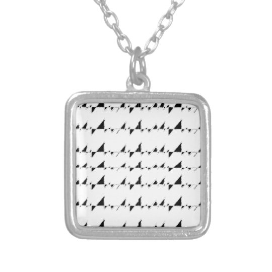 Black and White Wavy Stripes Pattern Silver Plated Necklace