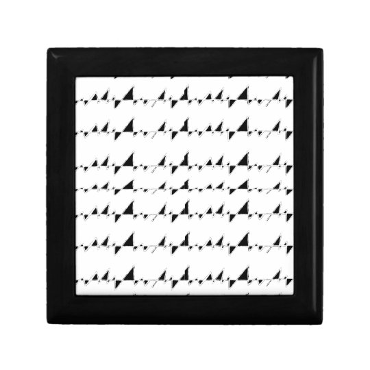 Black and White Wavy Stripes Pattern Small Square Gift Box