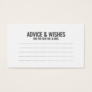 Black and White Wedding Advice and Wishes Business Card