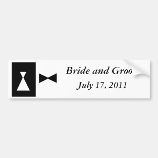 Black and White Wedding Bumper Sticker