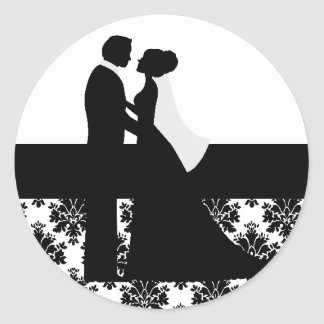 Black and White Wedding Couple Seals Stickers