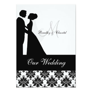 "Black and White Wedding Couple Wedding Invitation 5"" X 7"" Invitation Card"