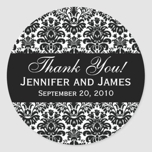 Black and White Wedding Damask Thank You Label Stickers