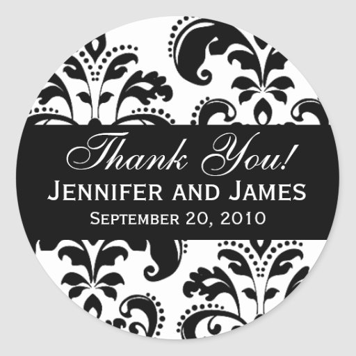 Black and White Wedding Damask Thank You Label Round Sticker
