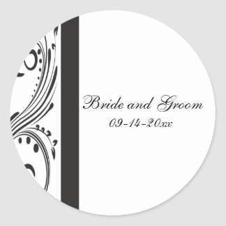 Black and White Wedding Envelope Seal Stickers