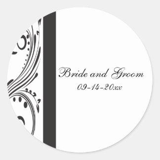 Black and White Wedding Envelope Seal Stickers