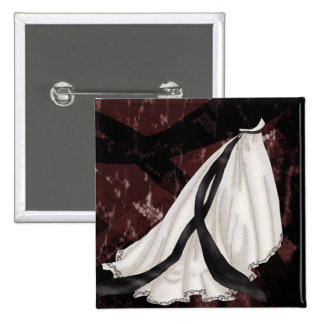 Black and White Wedding Gown 15 Cm Square Badge