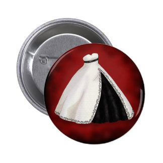 Black and White Wedding Gown 6 Cm Round Badge
